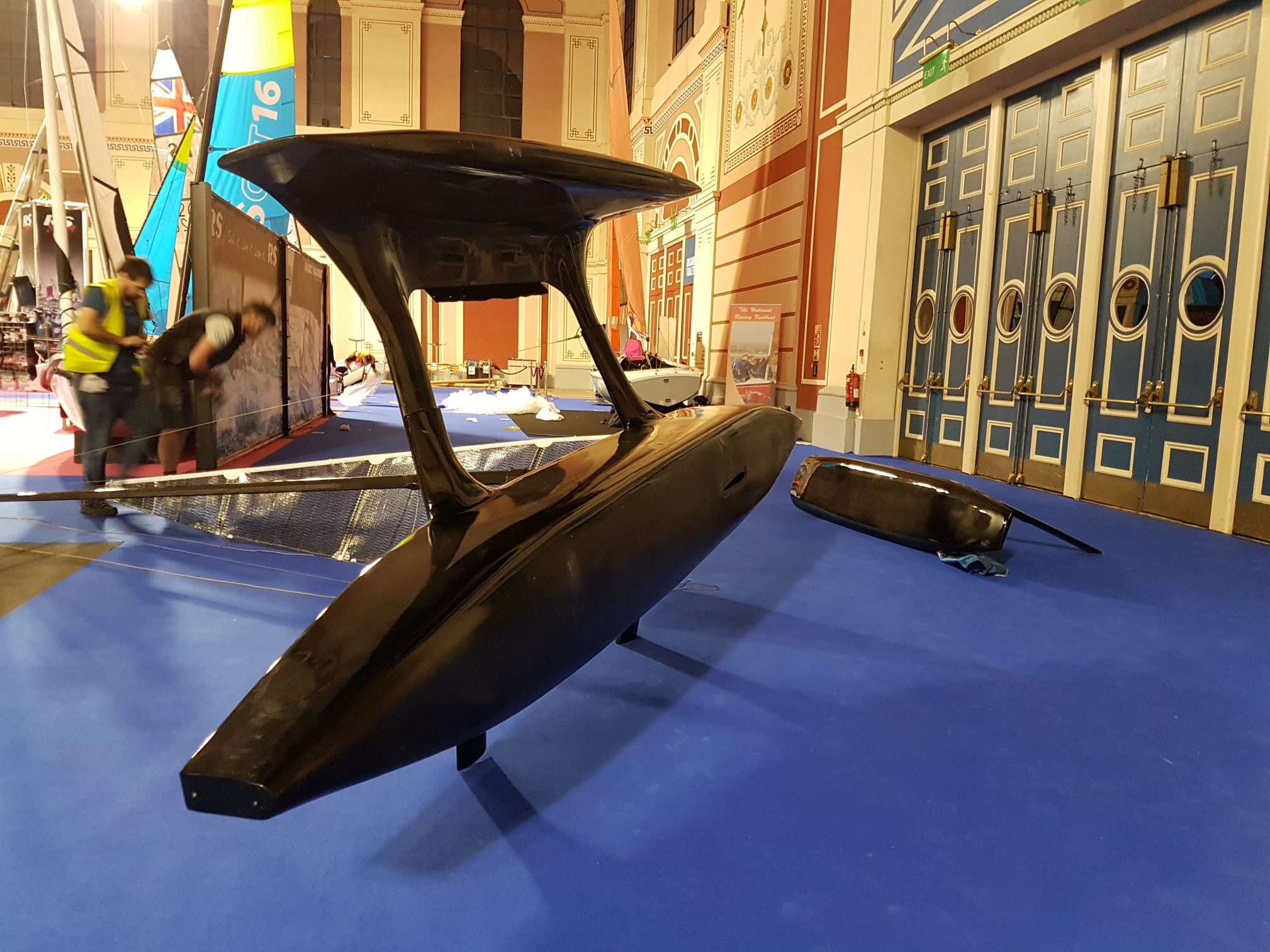 Flying Mantis on side Dinghy Show